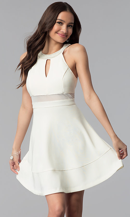 Image of beaded-collar empire-waist short graduation dress. Style: EM-ETX-1027-120 Front Image