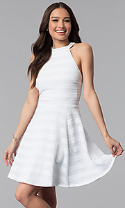 Image of high-neck short white striped graduation dress. Style: EM-ERU-3087-100 Front Image