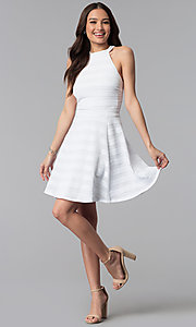 Image of high-neck short white striped graduation dress. Style: EM-ERU-3087-100 Detail Image 3