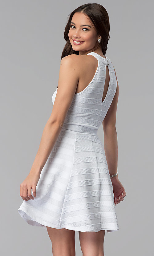Image of high-neck short white striped graduation dress. Style: EM-ERU-3087-100 Back Image