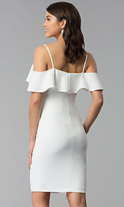 Image of ivory white off-shoulder party dress with flounce. Style: EM-FPC-3405-120 Back Image