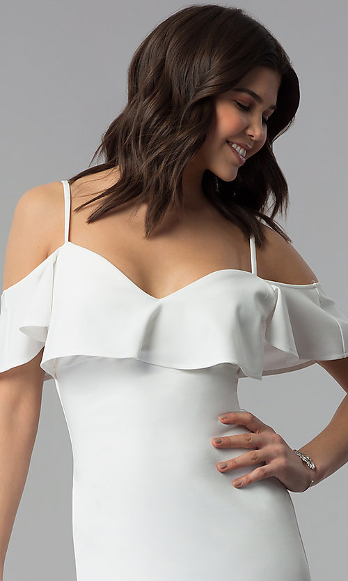 Image of ivory white off-shoulder party dress with flounce. Style: EM-FPC-3405-120 Detail Image 1