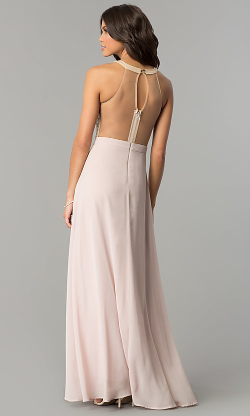 Image of long dusty blush pink prom dress by PromGirl.  Style: SOI-PL-M17330 Back Image
