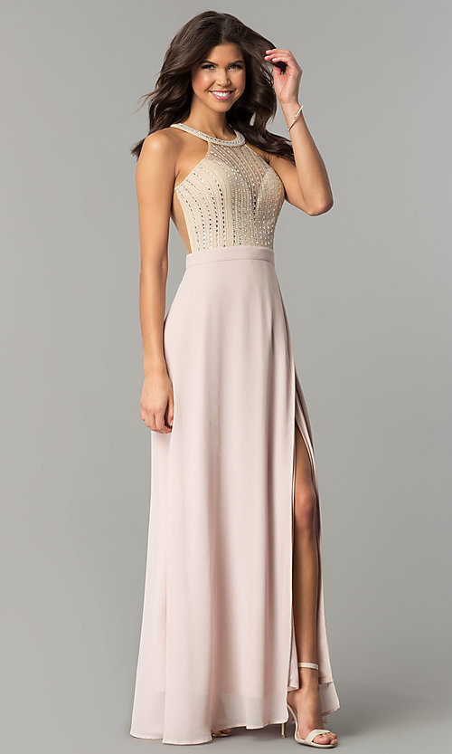 Image of long dusty blush pink prom dress by PromGirl.  Style: SOI-PL-M17330 Front Image
