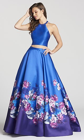Long Print A-Line Racer-Neck Prom Dress