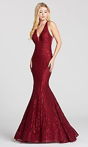 Long Mermaid-Style Lace Prom Dress with a Sheer Back