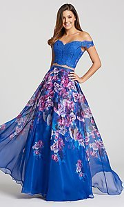 Long Two-Piece Chiffon and Lace Prom Dress