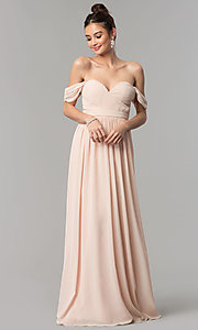 Image of rushed long cap-sleeved prom dress by PromGirl. Style: LP-PL-24516 Detail Image 2