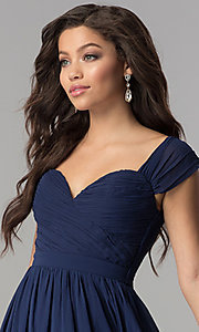 Image of rushed long cap-sleeved prom dress by PromGirl. Style: LP-PL-24516 Detail Image 1
