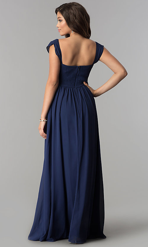 Image of rushed long cap-sleeved prom dress by PromGirl. Style: LP-PL-24516 Back Image