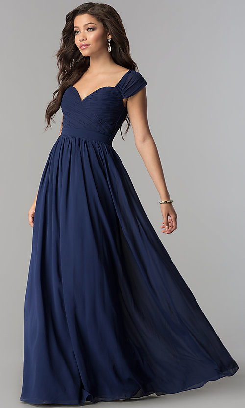 Image of rushed long cap-sleeved prom dress by PromGirl. Style: LP-PL-24516 Front Image