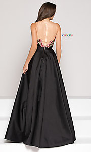 Image of a-line high-low illusion-v-neck prom dress. Style: CD-1811 Back Image