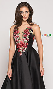 Image of a-line high-low illusion-v-neck prom dress. Style: CD-1811 Detail Image 1
