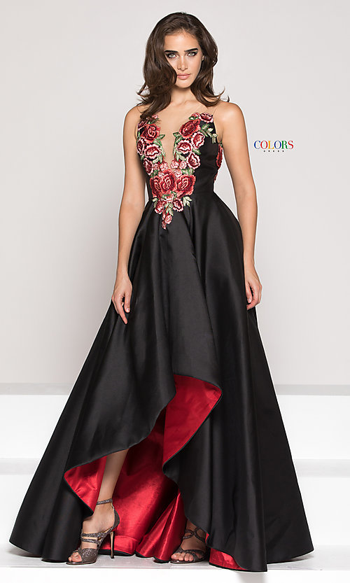 Image of a-line high-low illusion-v-neck prom dress. Style: CD-1811 Front Image