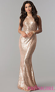 Long Sequin Prom Dress with Draped Cowl by PromGirl