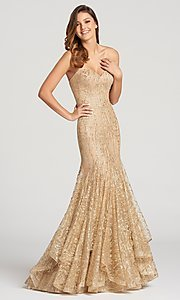 Image of long glitter mermaid prom dress in crack ice tulle. Style: TB-EW118068 Front Image