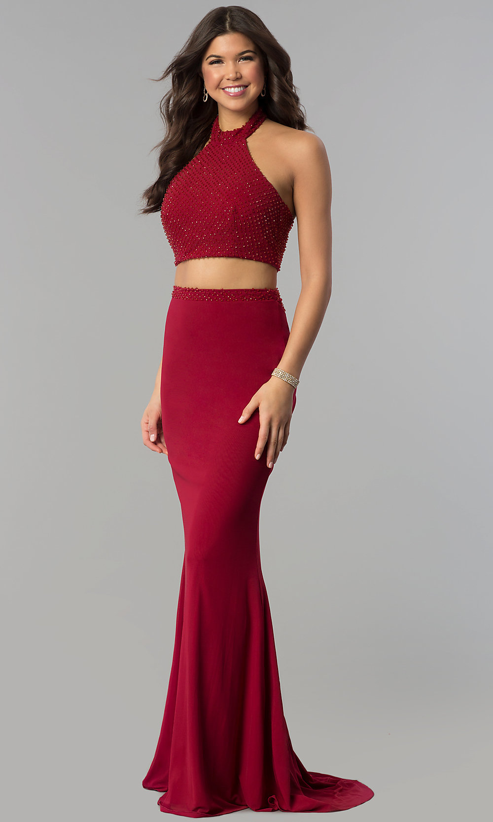 e15409e0148c Image of long two-piece high-neck burgundy Jolene prom dress. Style: Tap to  expand