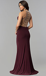 Image of embellished-illusion-back plum long prom dress. Style: JOJ-JE-18030 Front Image
