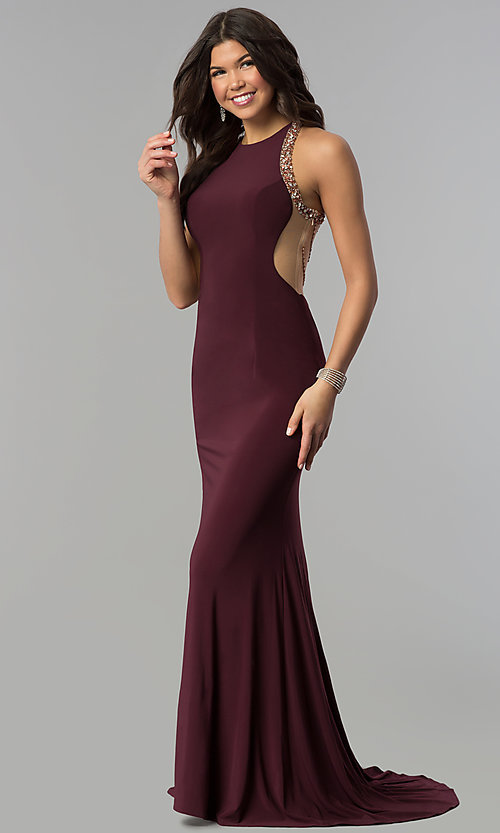 Image of embellished-illusion-back plum long prom dress. Style: JOJ-JE-18030 Back Image