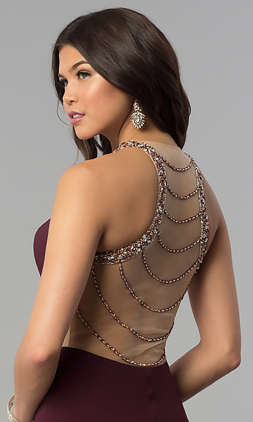 Image of embellished-illusion-back plum long prom dress. Style: JOJ-JE-18030 Detail Image 2