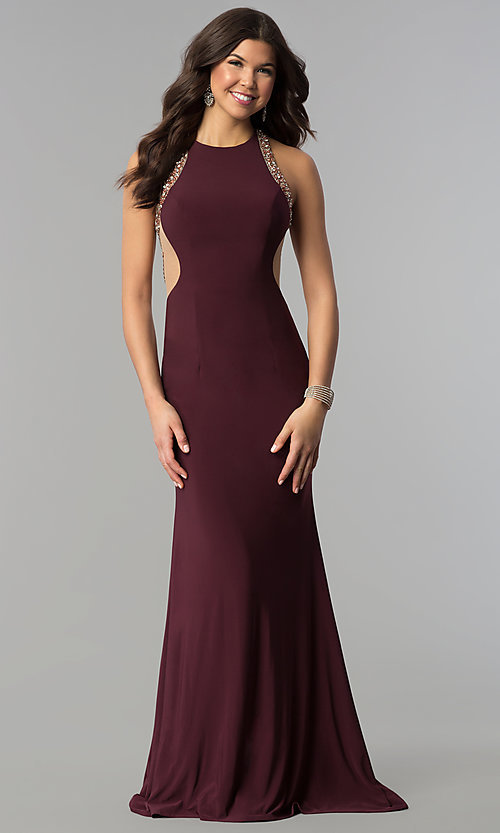 Image of embellished-illusion-back plum long prom dress. Style: JOJ-JE-18030 Detail Image 3