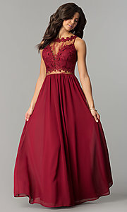 Image of wine red long prom dress with lace bodice. Style: SOI-PL-M17343 Front Image
