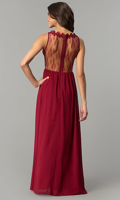 Image of wine red long prom dress with lace bodice. Style: SOI-PL-M17343 Back Image