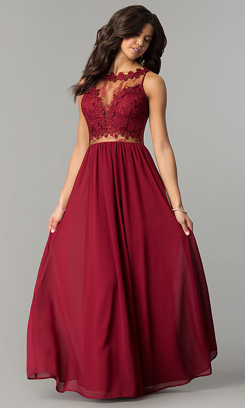 Long Lace-Bodice Wine Red Prom Dress - PromGirl