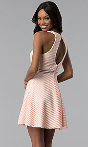 Image of short a-line graduation party dress with stripes. Style: DMO-J320917 Back Image