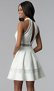 Image of short white graduation dress with high neckline. Style: DMO-J320837 Back Image