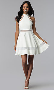 Image of short white graduation dress with high neckline. Style: DMO-J320837 Detail Image 3