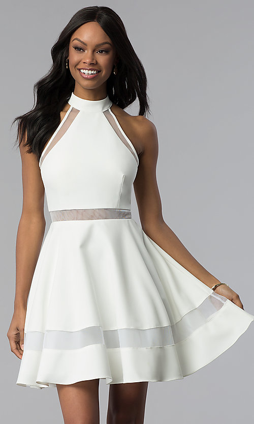 Image of short white graduation dress with high neckline. Style: DMO-J320837 Front Image