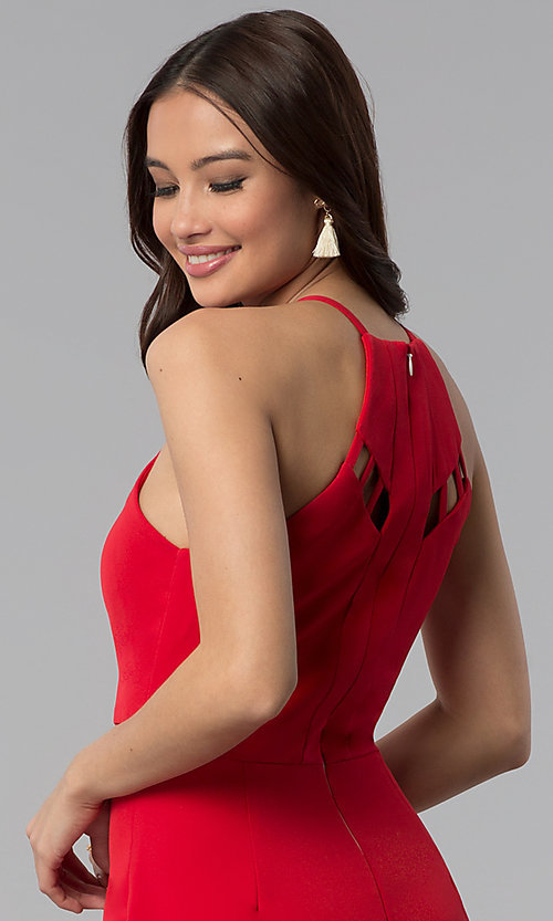 Image of short red scoop-neck party dress with cut outs. Style: DMO-J320997 Detail Image 2