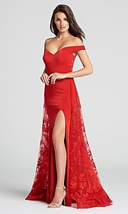 Long Sheer-Back Prom Dress with a Lace Cape