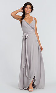 Image of Parker Long wrap-style long bridesmaid dress. Style: JAUG-C-Parker-Long Front Image