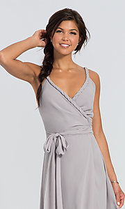 Image of Parker Long wrap-style long bridesmaid dress. Style: JAUG-C-Parker-Long Detail Image 1