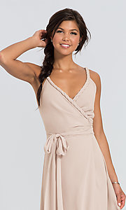 Image of Parker Long wrap-style long bridesmaid dress. Style: JAUG-C-Parker-Long Detail Image 5