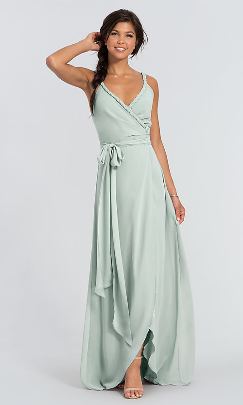 Image of Parker Long wrap-style long bridesmaid dress. Style: JAUG-C-Parker-Long Detail Image 3