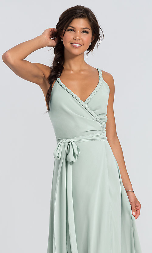 Image of Parker Long wrap-style long bridesmaid dress. Style: JAUG-C-Parker-Long Detail Image 8