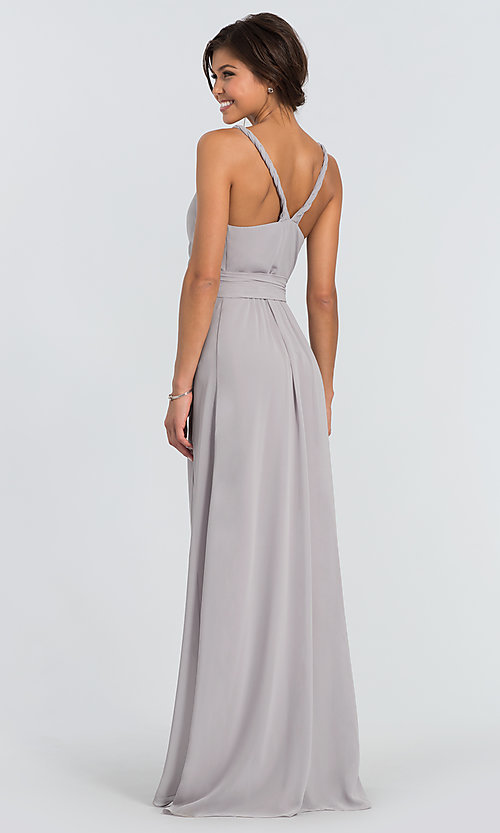 Image of Parker Long wrap-style long bridesmaid dress. Style: JAUG-C-Parker-Long Back Image