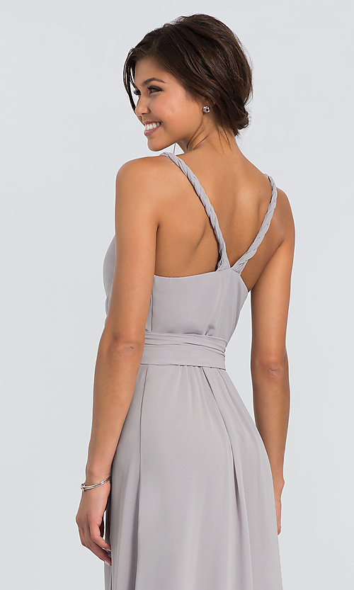 Image of Parker Long wrap-style long bridesmaid dress. Style: JAUG-C-Parker-Long Detail Image 2