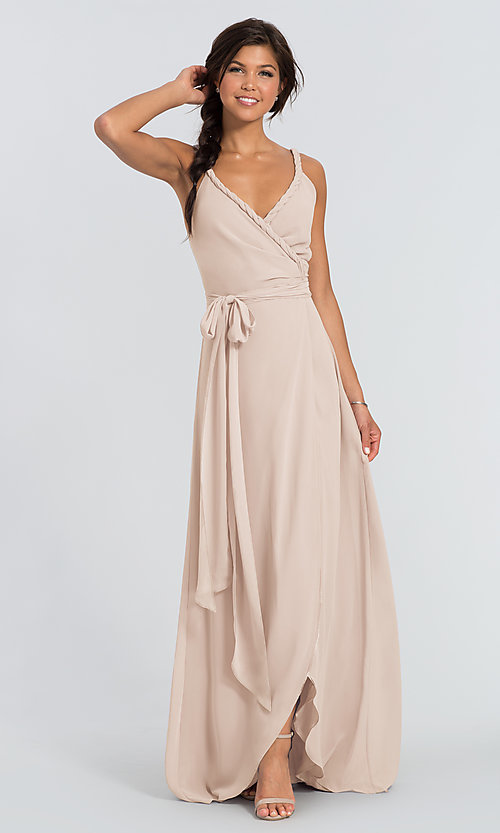 Image of Parker Long wrap-style long bridesmaid dress. Style: JAUG-C-Parker-Long Detail Image 4