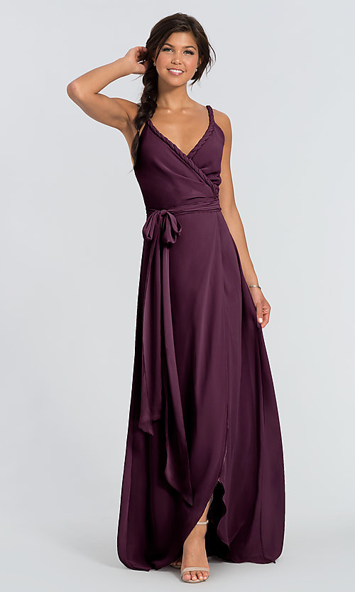 Image of Parker Long wrap-style long bridesmaid dress. Style: JAUG-C-Parker-Long Detail Image 6