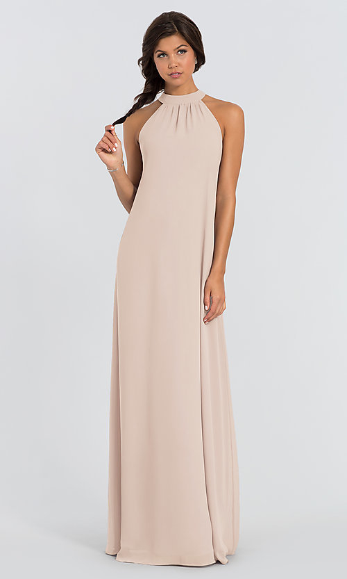 Image of Elena shift long bridesmaid dress by Joanna August. Style: JAUG-C-Elena-Long Front Image