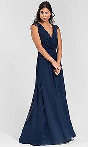 Image of Hailey Paige long bridesmaid dress with lace. Style: HYP-5600 Back Image