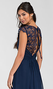 Image of Hailey Paige long bridesmaid dress with lace. Style: HYP-5600 Detail Image 2