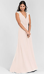 Image of Hailey Paige long bridesmaid dress with lace. Style: HYP-5600 Detail Image 7