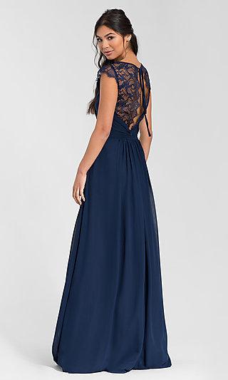 Hailey Paige Long Bridesmaid Dress with Lace