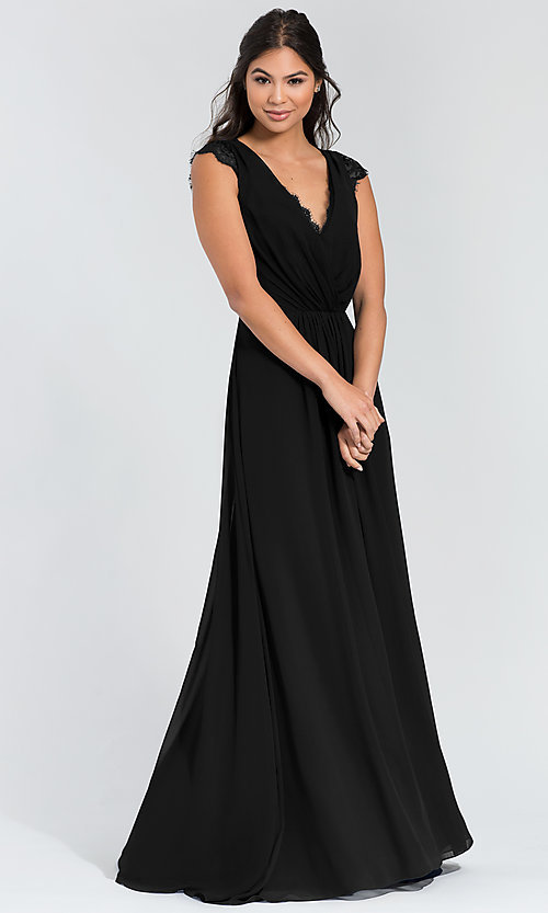 Image of Hailey Paige long bridesmaid dress with lace. Style: HYP-5600 Detail Image 5