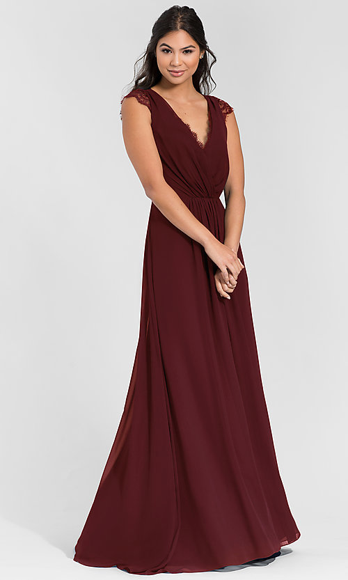 Image of Hailey Paige long bridesmaid dress with lace. Style: HYP-5600 Detail Image 3